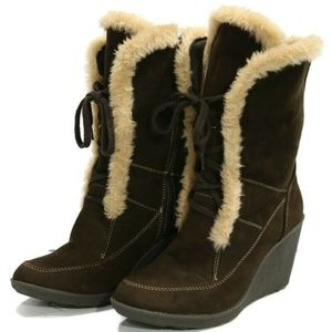 Route 66 Brown Wedge Boots 10 Faux Suede Fur